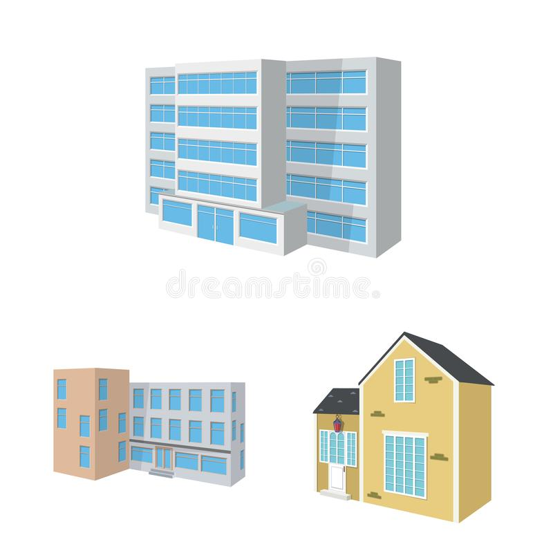 Vector design of building and home icon. Set of building and construction stock vector illustration. Vector illustration of building and home symbol. Collection stock illustration
