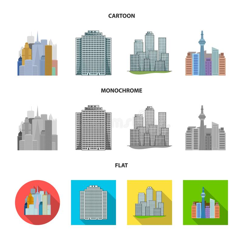 Isolated object of  and building symbol. Set of  and hotel stock symbol for web. Vector design of  and building sign. Collection of  and hotel stock vector vector illustration