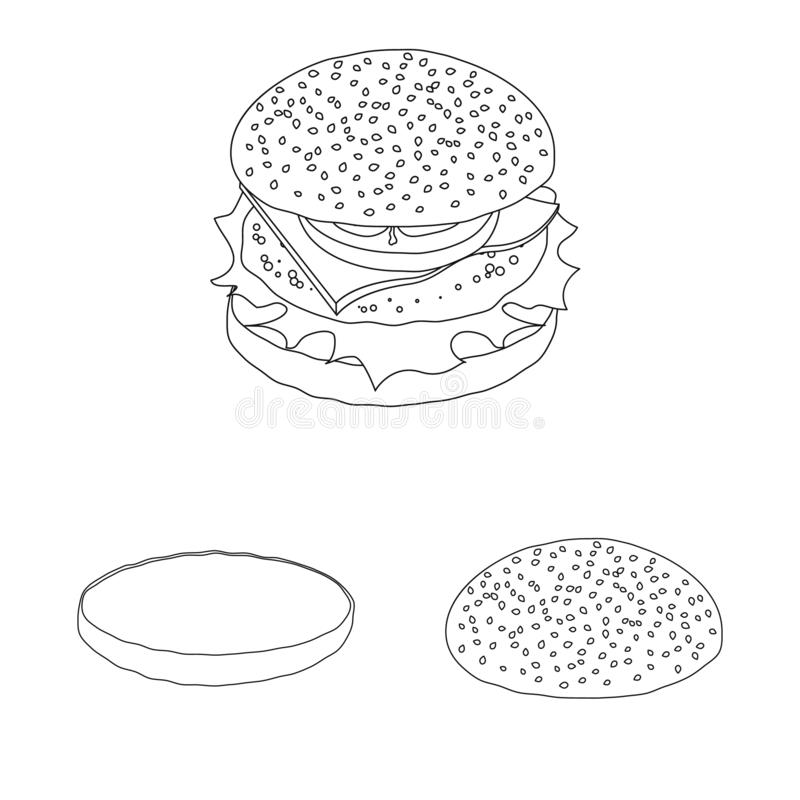 Vector design of burger and sandwich sign. Set of burger and slice stock vector illustration. Vector illustration of burger and sandwich logo. Collection of vector illustration