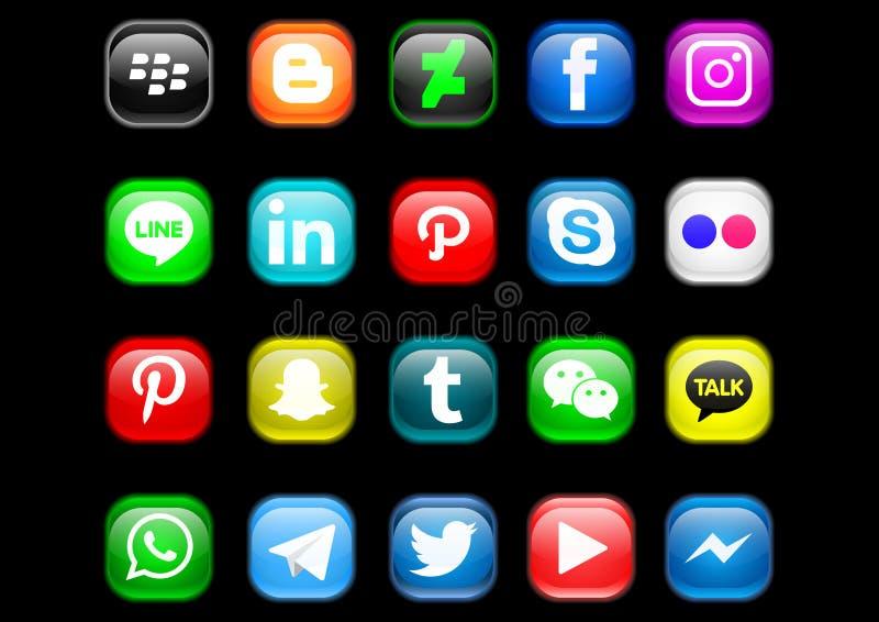 Social media icon pack. Vector design of button mobile app custom icon