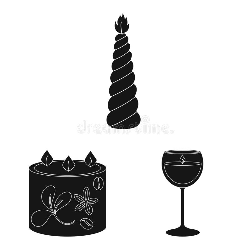 Vector design of candlelight and decoration icon. Set of candlelight and wax stock symbol for web. Vector illustration of candlelight and decoration symbol vector illustration