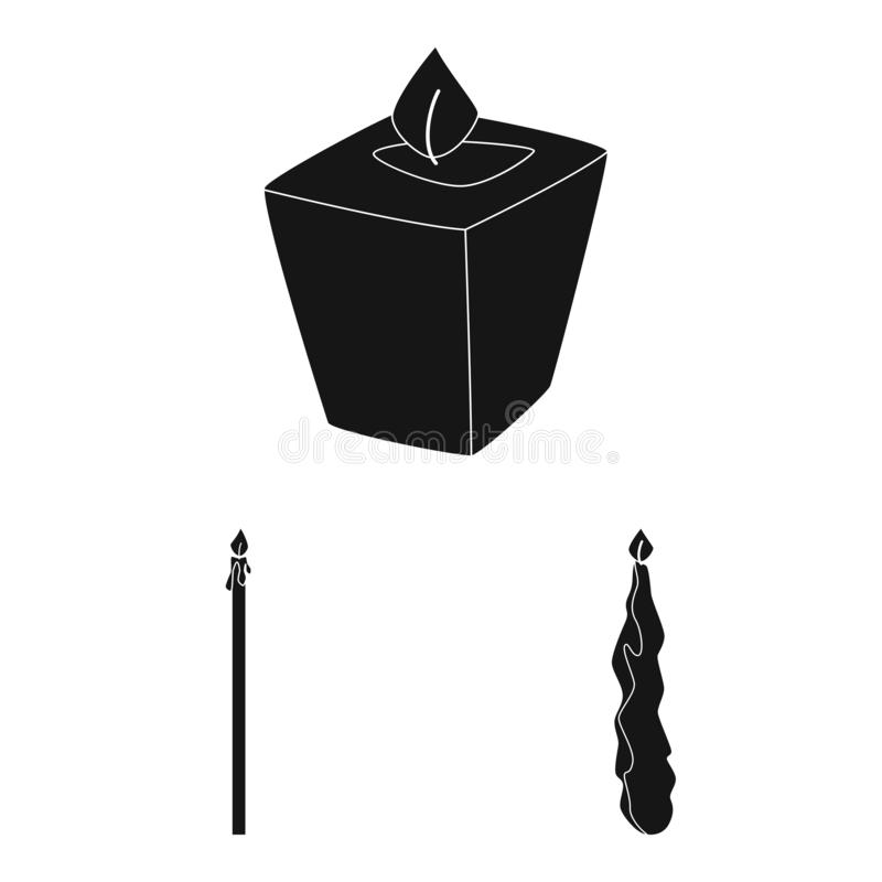 Vector design of candlelight and decoration icon. Set of candlelight and wax stock symbol for web. Vector illustration of candlelight and decoration symbol royalty free illustration
