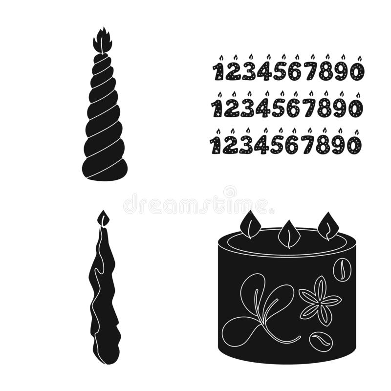 Vector design of candlelight and decoration symbol. Collection of candlelight and wax vector icon for stock. Vector illustration of candlelight and decoration royalty free illustration