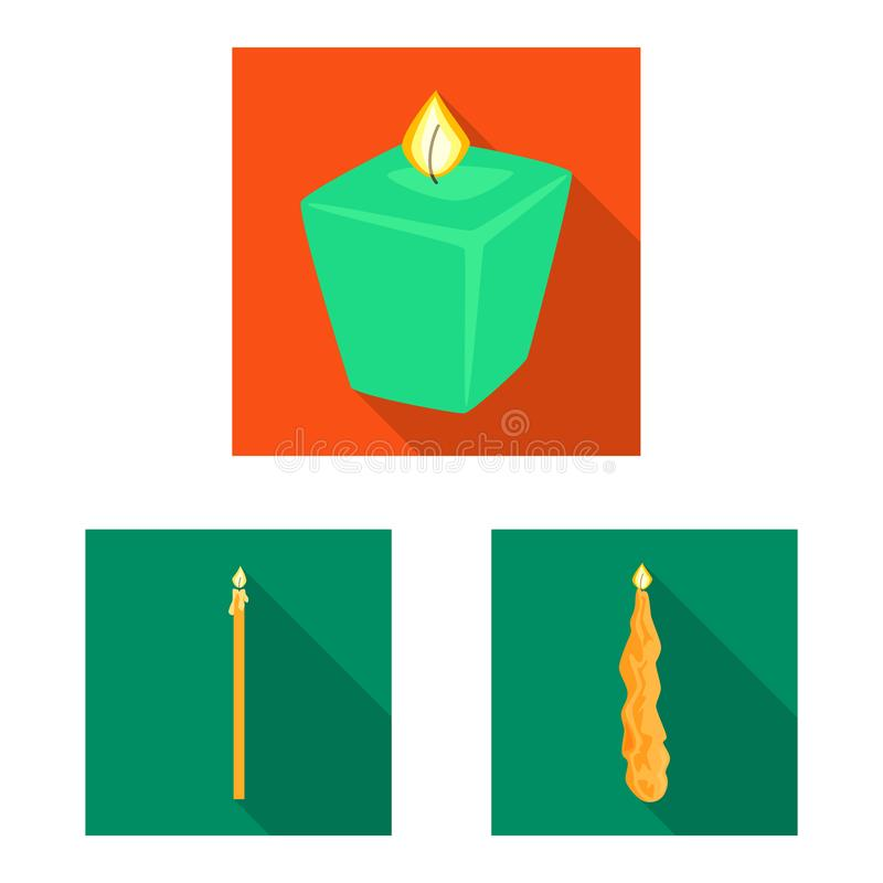 Vector design of candlelight and decoration symbol. Collection of candlelight and flame vector icon for stock. Vector illustration of candlelight and decoration royalty free illustration