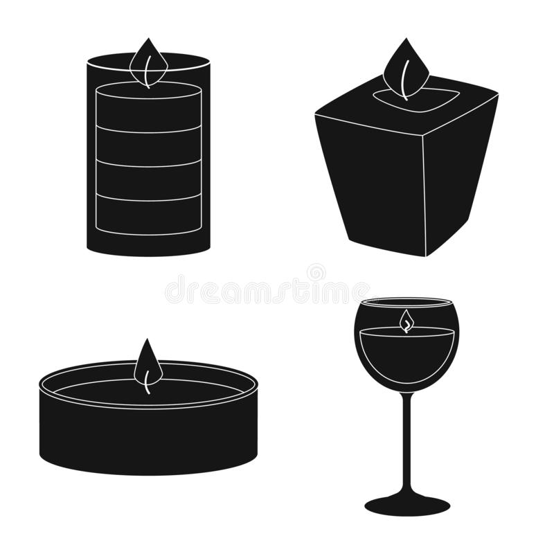Vector design of candlelight and decoration symbol. Set of candlelight and wax stock vector illustration. Vector illustration of candlelight and decoration sign stock illustration