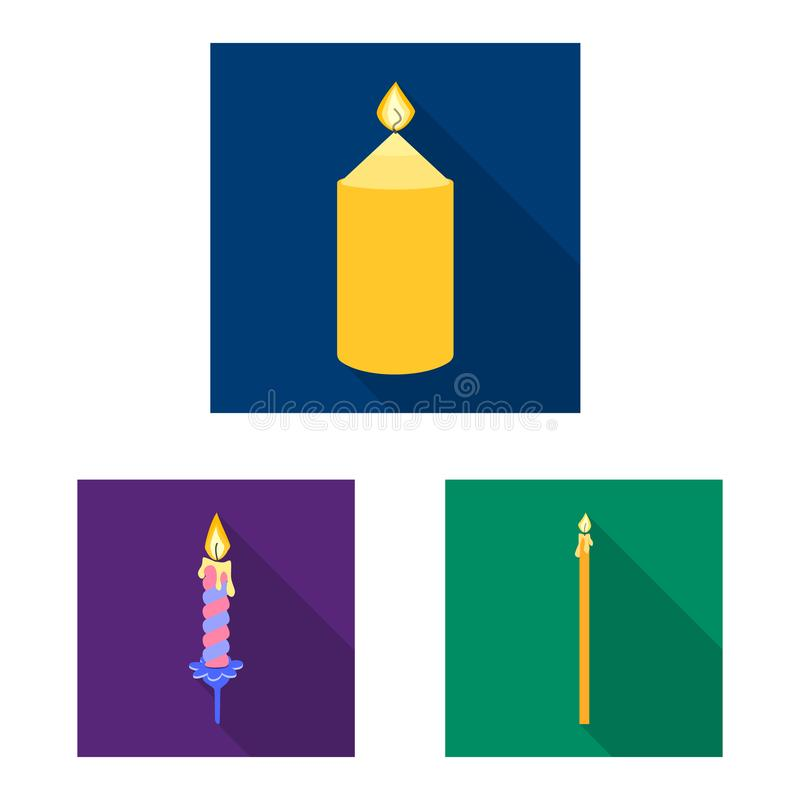 Isolated object of candlelight and decoration icon. Collection of candlelight and flame stock symbol for web. Vector design of candlelight and decoration symbol royalty free illustration