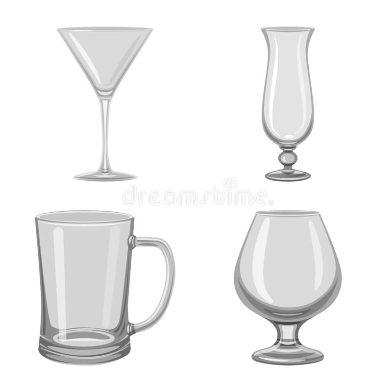 Vector design of capacity and glassware icon. Set of capacity and restaurant stock vector illustration. Vector illustration of capacity and glassware symbol vector illustration