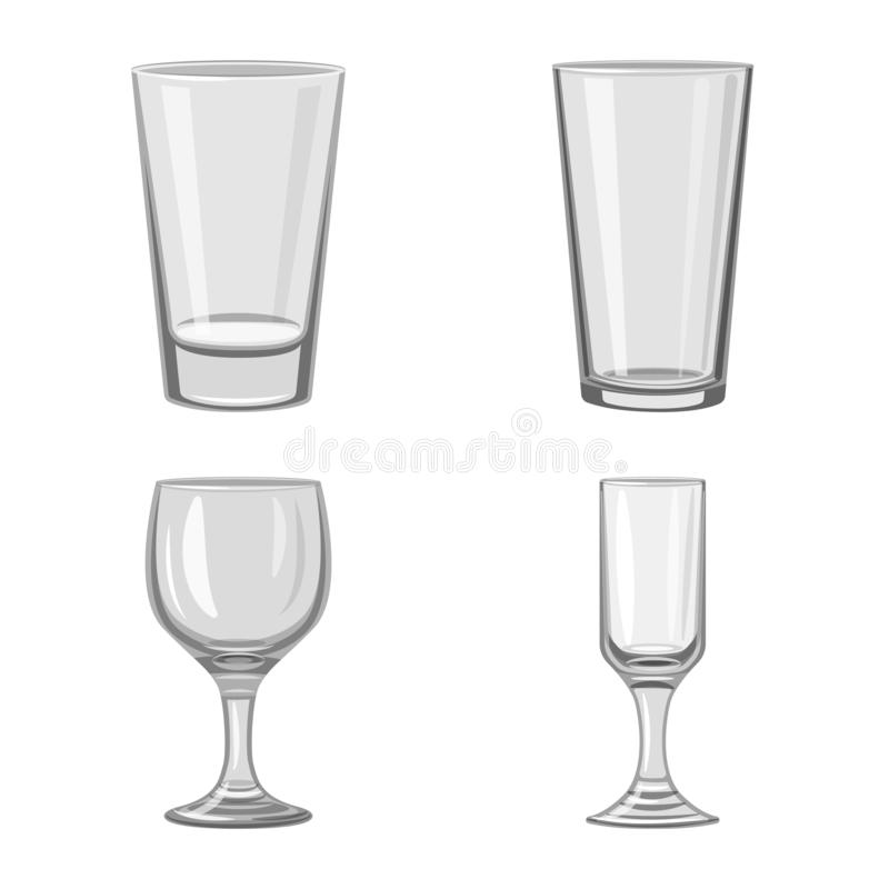 Vector design of capacity and glassware logo. Set of capacity and restaurant stock symbol for web. Vector illustration of capacity and glassware icon royalty free illustration