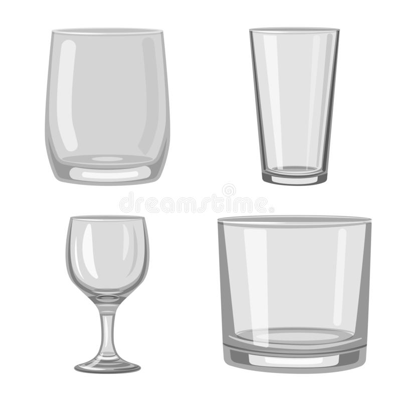 Vector design of capacity and glassware sign. Collection of capacity and restaurant stock vector illustration. Vector illustration of capacity and glassware vector illustration