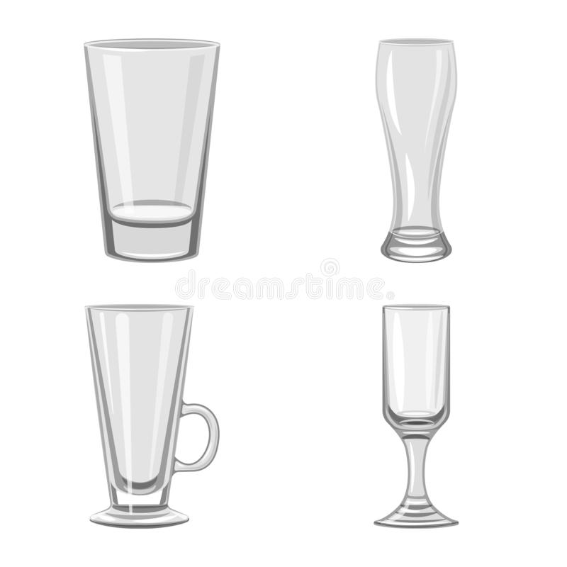Vector design of capacity and glassware sign. Set of capacity and restaurant vector icon for stock. Vector illustration of capacity and glassware logo royalty free illustration