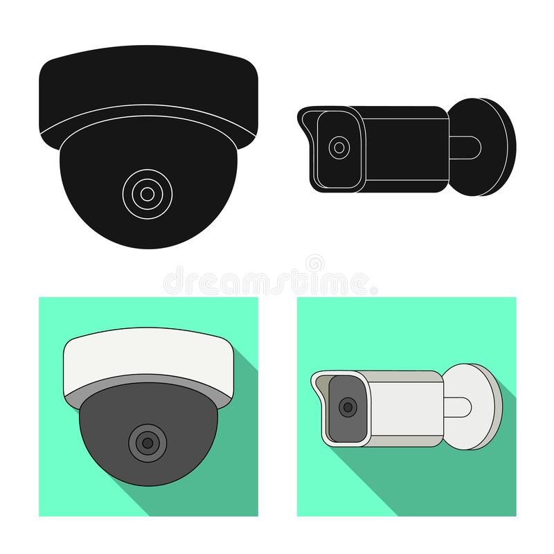 Isolated object of cctv and camera logo. Collection of cctv and system stock vector illustration. Vector design of cctv and camera icon. Set of cctv and system stock illustration