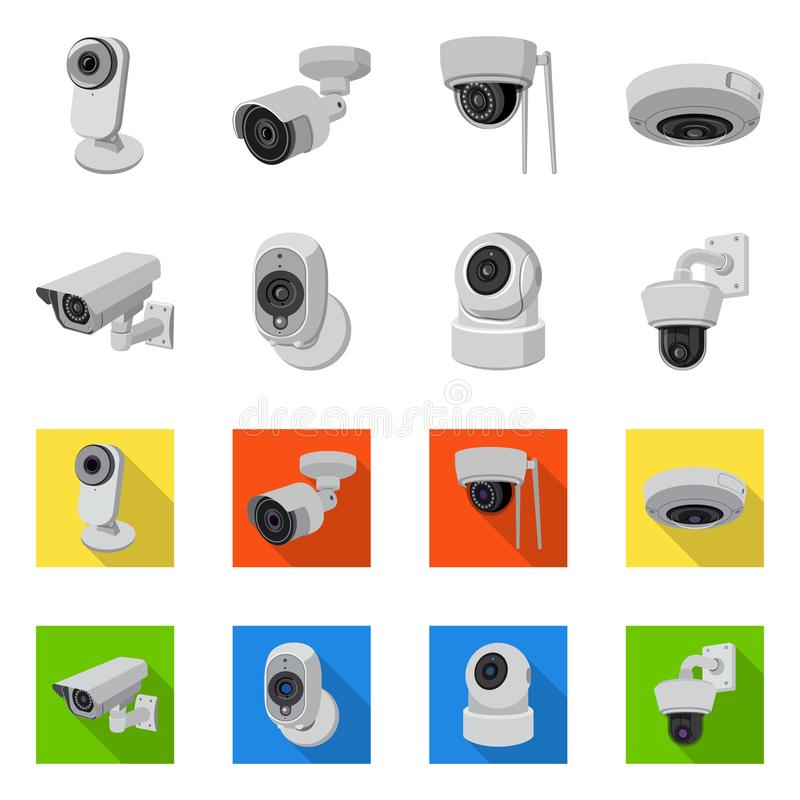 Isolated object of cctv and camera icon. Set of cctv and system stock vector illustration. Vector design of cctv and camera symbol. Collection of cctv and vector illustration