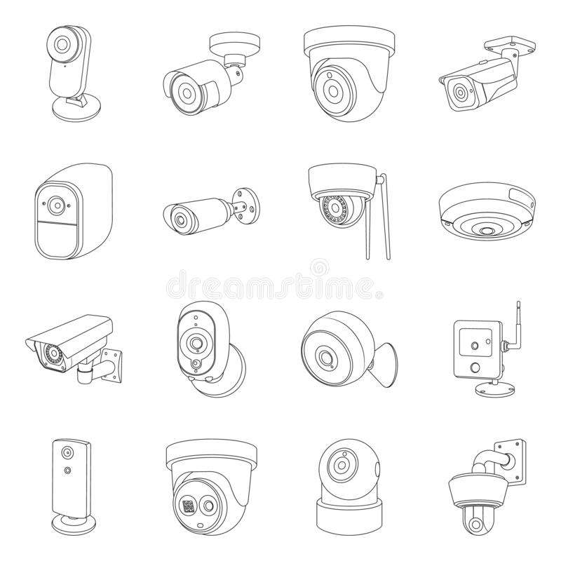Vector design of cctv and camera symbol. Set of cctv and system vector icon for stock. Vector illustration of cctv and camera sign. Collection of cctv and stock illustration