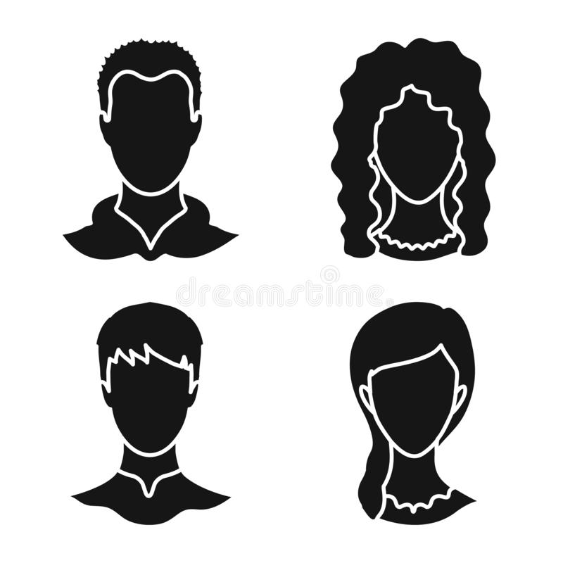 Isolated object of character and profile icon. Set of character and dummy vector icon for stock. Vector design of character and profile symbol. Collection of royalty free illustration