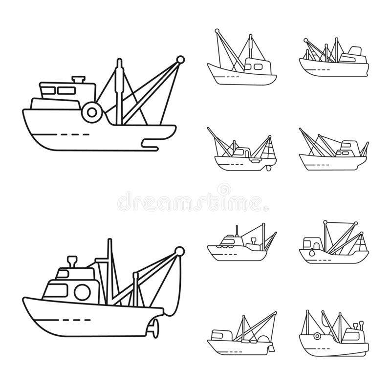 Vector design of commercial and vessel icon. Set of commercial and speedboat stock vector illustration. Vector illustration of commercial and vessel symbol stock illustration