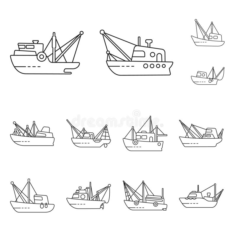 Vector design of commercial and vessel logo. Collection of commercial and speedboat stock vector illustration. Vector illustration of commercial and vessel icon stock illustration