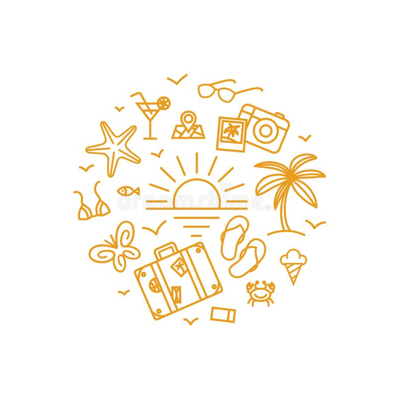 Vector design concept - travel icons in circle in linear style. royalty free stock images