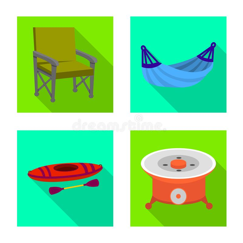 Isolated object of cookout and wildlife icon. Collection of cookout and rest stock symbol for web. vector illustration