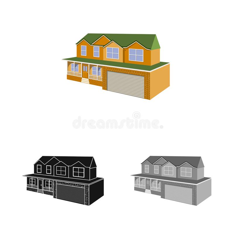Vector design of cottage and apartment symbol. Collection of cottage and dwelling stock symbol for web. Vector illustration of cottage and apartment sign. Set royalty free illustration