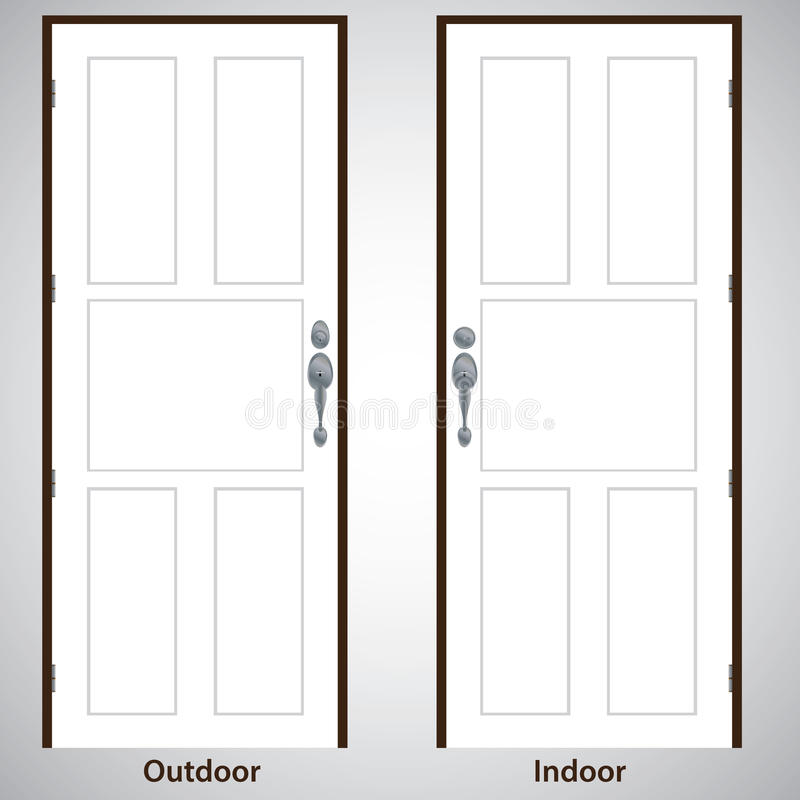 Vector design. The door on white and grey background. Door Handle for Architecture vector illustration