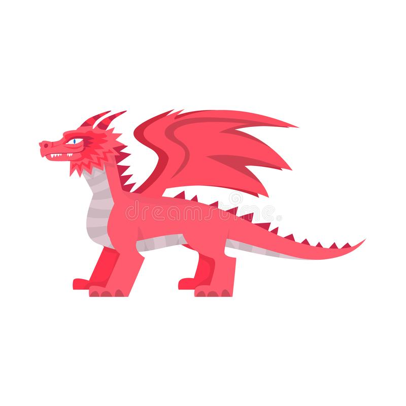 Vector design of dragon and fantasy sign. Collection of dragon and red stock vector illustration. stock illustration