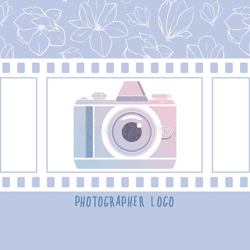 Vector design element for photographer logotype, label, badge and other. Magnolia flowers,retro photocamera and film in trendy col royalty free illustration