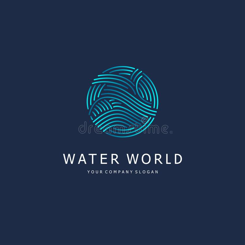 Vector design element. Water sign. Circle with waves. Vector abstract logo template royalty free illustration