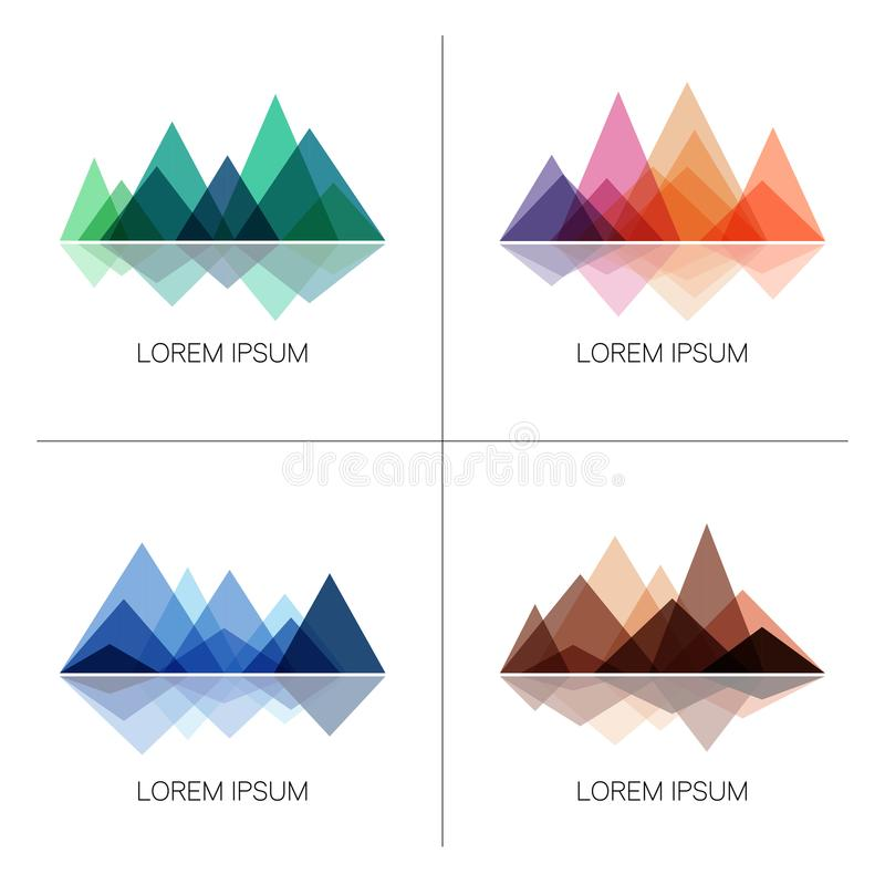 Abstract mountains in geometric style. Set of stylish outdoor logo templates. royalty free illustration