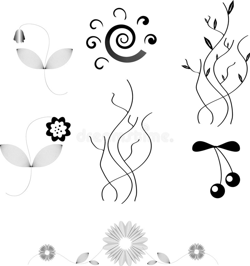 Free Vector Design Elements Of Flowers Royalty Free Stock Images - 7005509