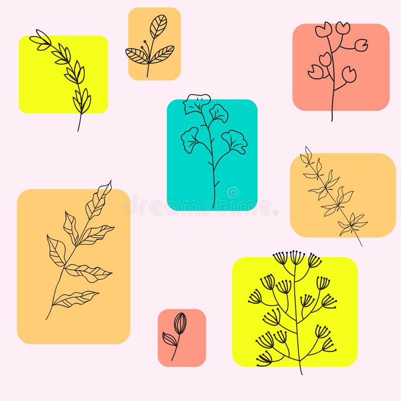 Vector design elements set collection of green leaves and herbs, art foliage natural grass leaves in pastel style. Decorative royalty free illustration