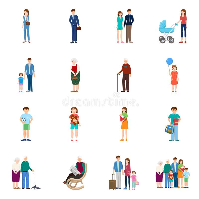 Isolated object of family and people logo. Set of family and avatar vector icon for stock. Vector design of family and people icon. Collection of family and stock illustration
