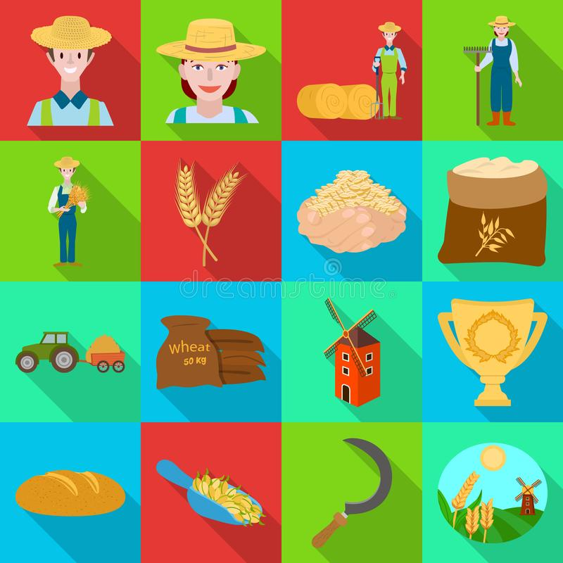 Vector design of farm and arable logo. Collection of farm and harvest stock vector illustration. royalty free illustration