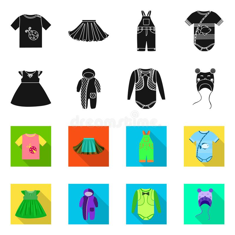 Vector design of fashion and garment icon. Collection of fashion and cotton stock vector illustration. Vector illustration of fashion and garment symbol. Set of royalty free illustration