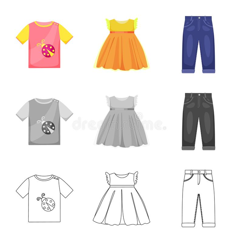 Vector design of fashion and garment icon. Set of fashion and cotton stock symbol for web. Vector illustration of fashion and garment symbol. Collection of vector illustration