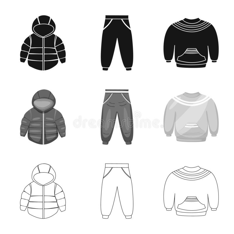 Vector design of fashion and garment logo. Collection of fashion and cotton stock vector illustration. Vector illustration of fashion and garment icon. Set of vector illustration
