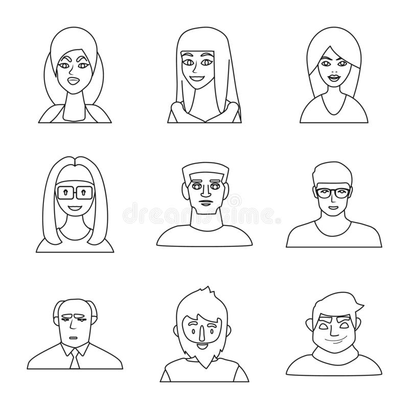 Isolated object of fashion and haircut icon. Collection of fashion and nationality stock vector illustration. Vector design of fashion and haircut symbol. Set vector illustration