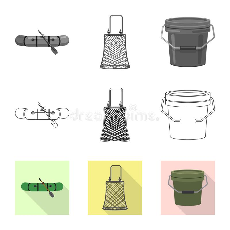 Isolated object of fish and fishing icon. Collection of fish and equipment stock symbol for web. royalty free illustration