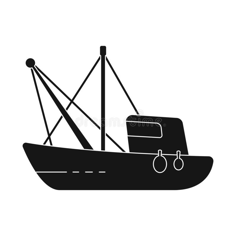 Vector design of fishery and trawler icon. Collection of fishery and tug stock symbol for web. Vector illustration of fishery and trawler symbol. Set of fishery royalty free illustration