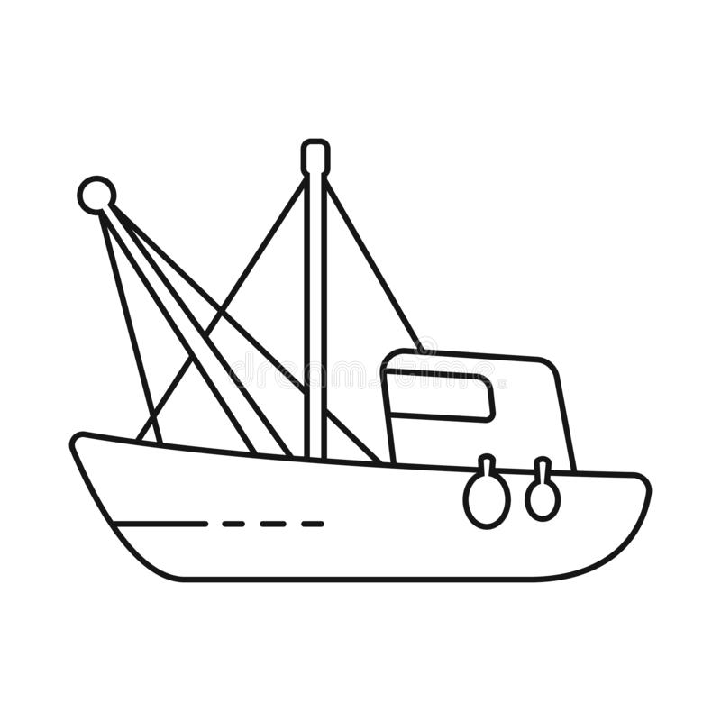 Vector design of fishery and trawler icon. Set of fishery and tug stock symbol for web. Vector illustration of fishery and trawler symbol. Collection of fishery royalty free illustration