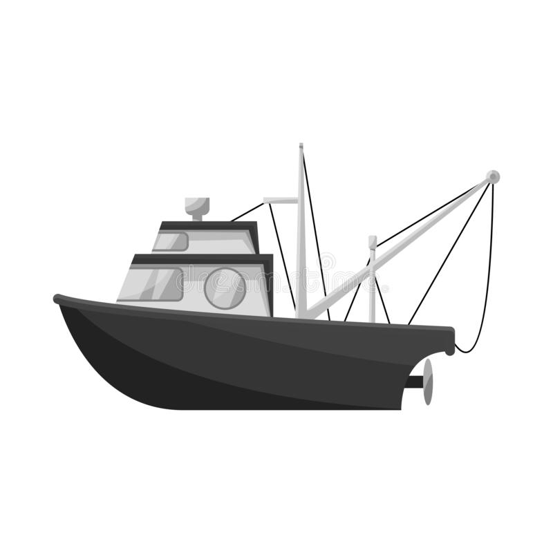 Isolated object of fishery and trawler symbol. Set of fishery and tug vector icon for stock. Vector design of fishery and trawler sign. Collection of fishery royalty free illustration