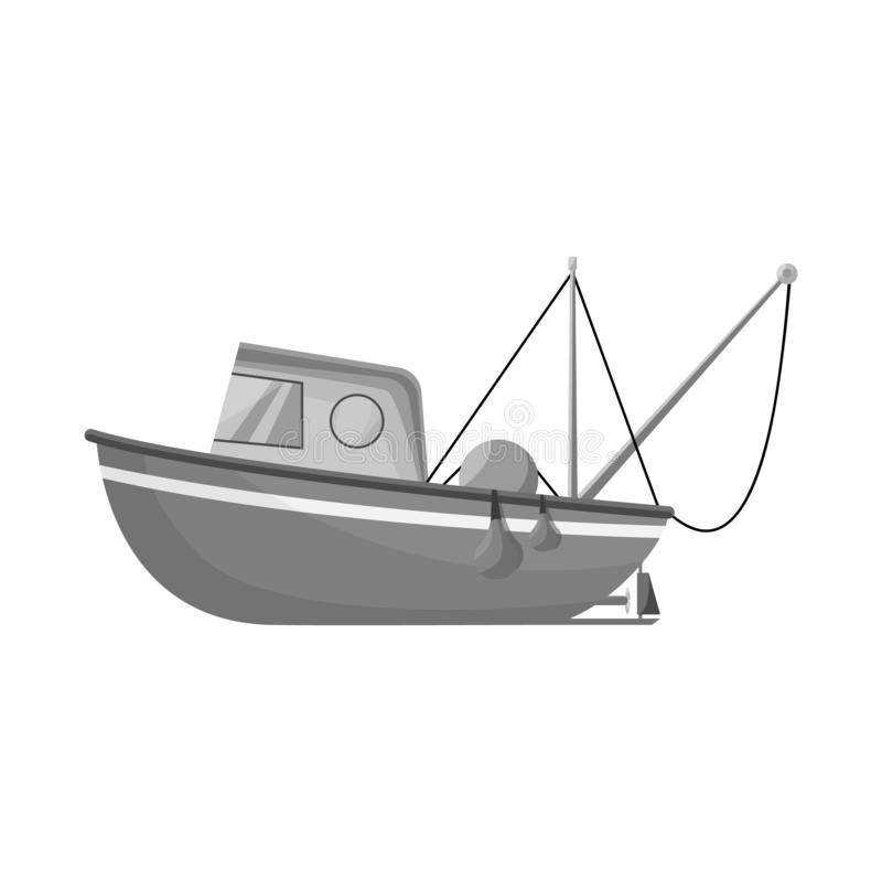 Isolated object of fishery and trawler icon. Collection of fishery and naval stock symbol for web. Vector design of fishery and trawler symbol. Set of fishery stock illustration