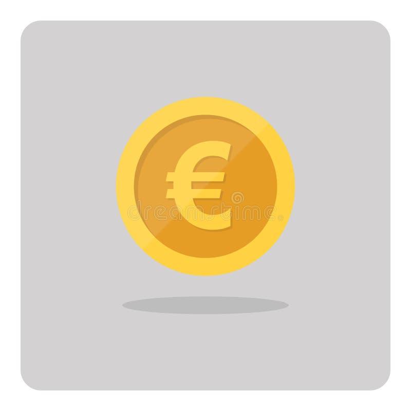 Gold euro coin icon. vector illustration