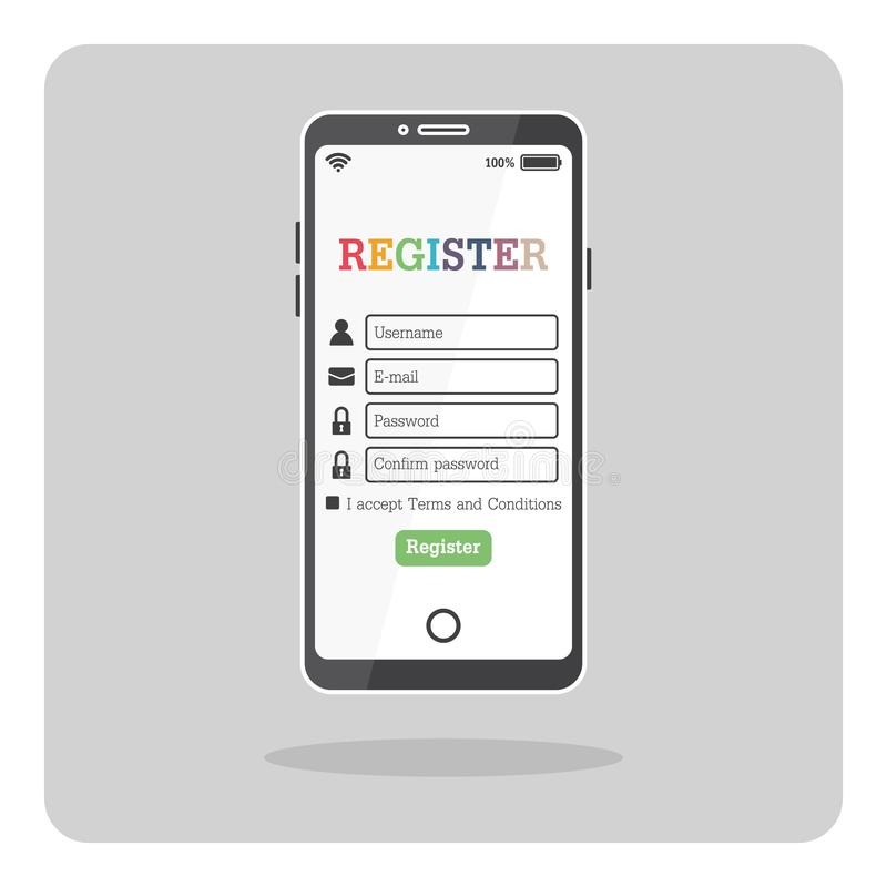 Mobile phone with register form page. stock illustration