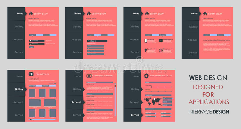 Vector design of a flat interface. Design vector flat template interface for mobile applications, software, web site (UI). Set royalty free illustration