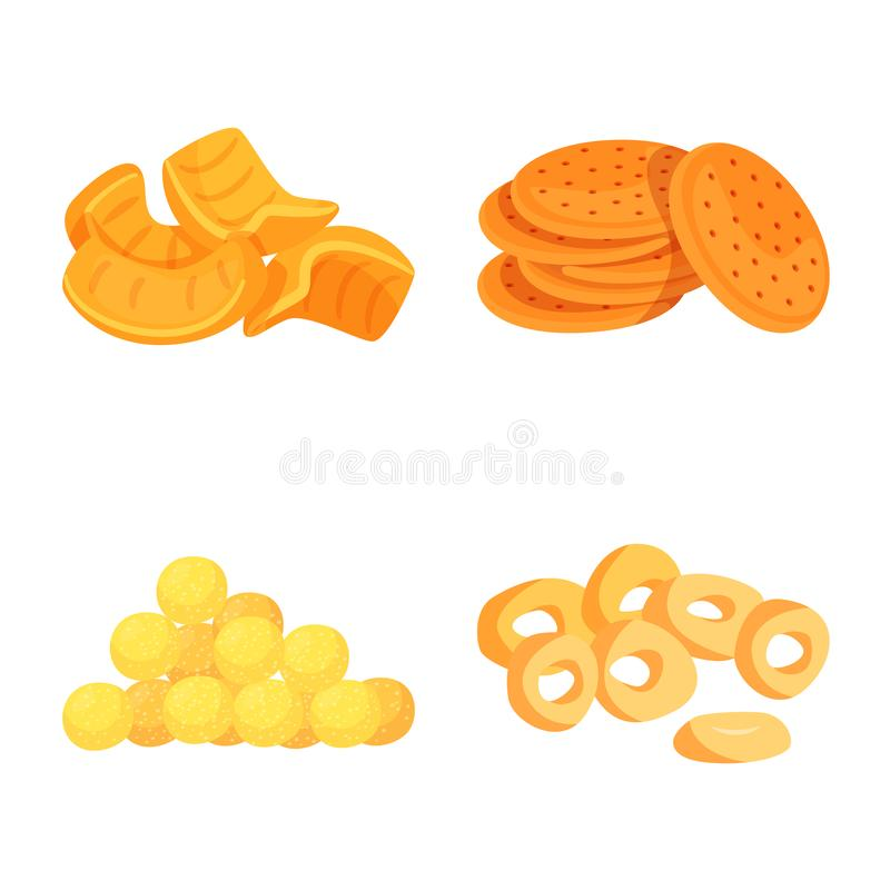 Isolated object of food and crunchy logo. Set of food and flavor stock vector illustration. Vector design of food and crunchy icon. Collection of food and stock illustration