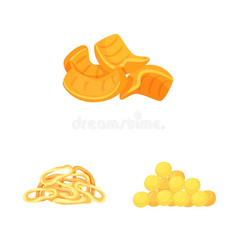 Vector design of food and crunchy icon. Set of food and flavor vector icon for stock. Vector illustration of food and crunchy symbol. Collection of food and stock illustration