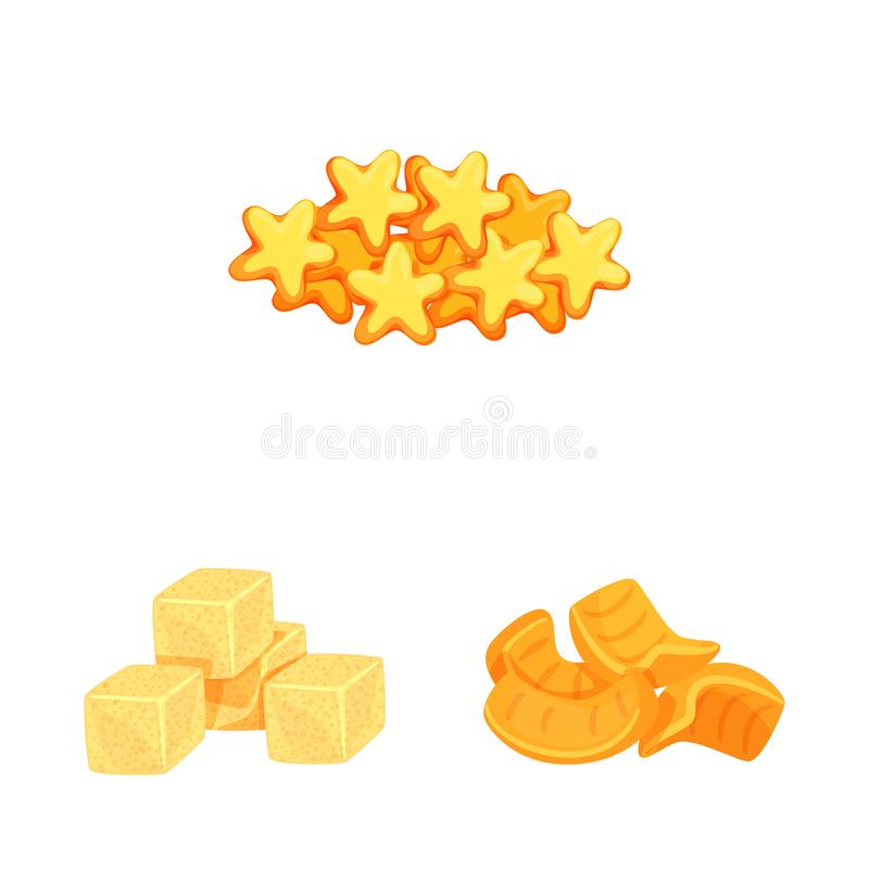 Vector design of food and crunchy logo. Collection of food and flavor stock symbol for web. Vector illustration of food and crunchy icon. Set of food and flavor vector illustration