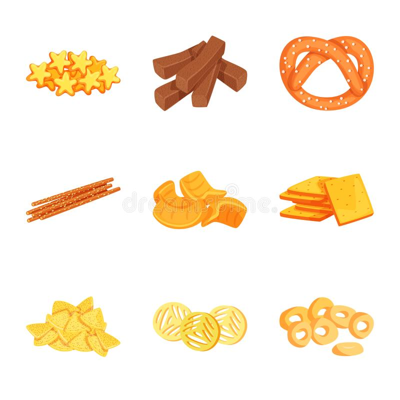 Vector design of food and crunchy logo. Collection of food and flavor vector icon for stock. Vector illustration of food and crunchy icon. Set of food and vector illustration