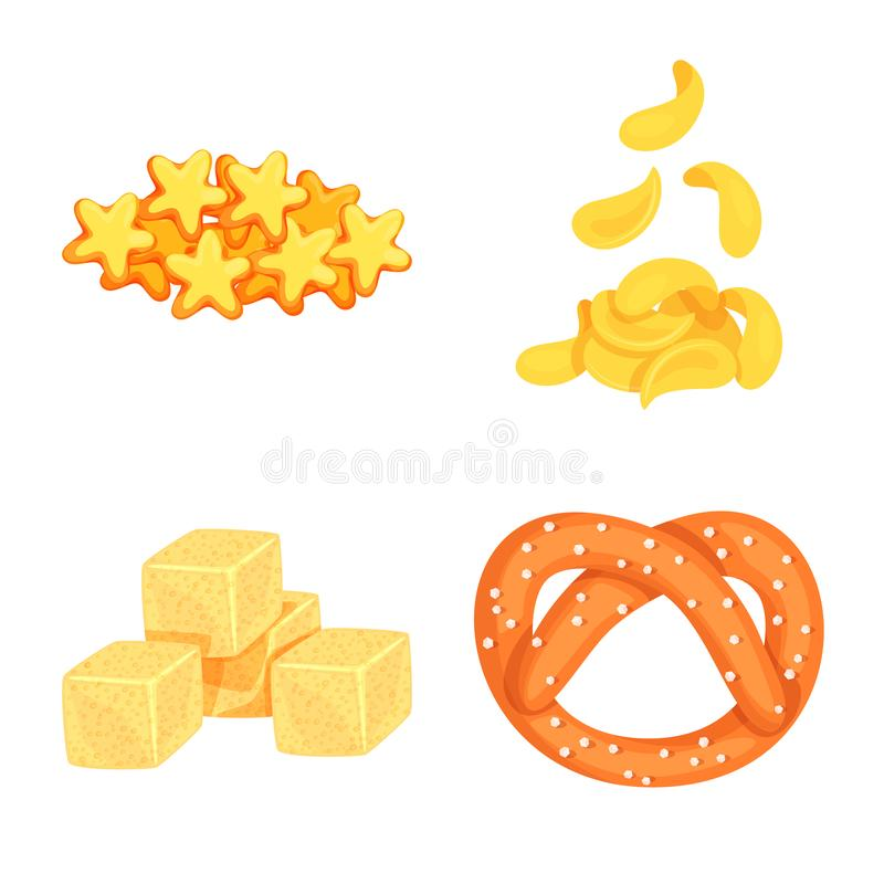 Isolated object of food and crunchy icon. Collection of food and flavor vector icon for stock. Vector design of food and crunchy symbol. Set of food and flavor vector illustration
