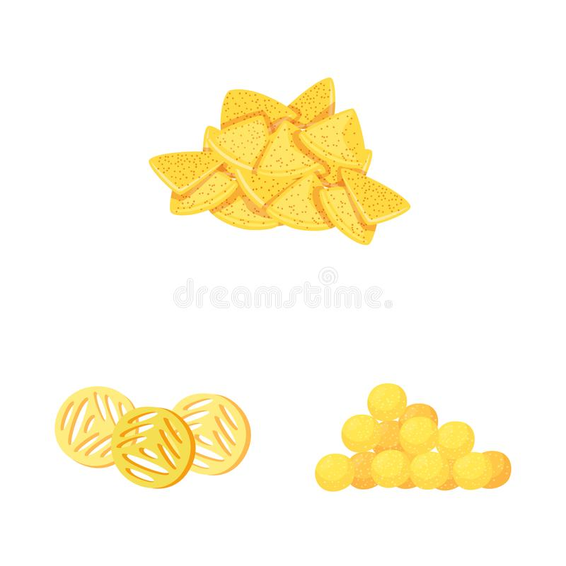 Vector design of food and crunchy symbol. Set of food and flavor stock vector illustration. Vector illustration of food and crunchy sign. Collection of food and vector illustration